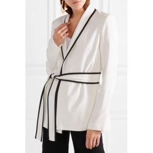 La Ligne Tuxedo Crepe Wrap Jacket Ivory Size 8